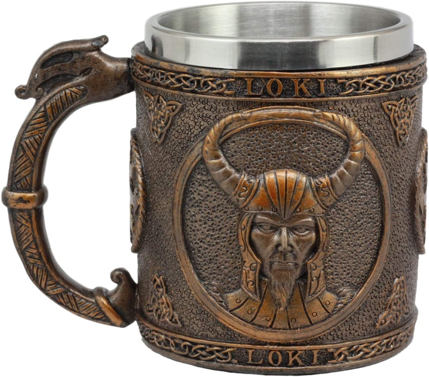 Ebros Gift Norse Mythology Viking Trickster God Loki Coffee Mug 13oz Resin Drink Cup Tankard Beer Stein With Stainless Steel Liner For Kitchen Home Decor Medieval Renaissance Party Hosting Accessory