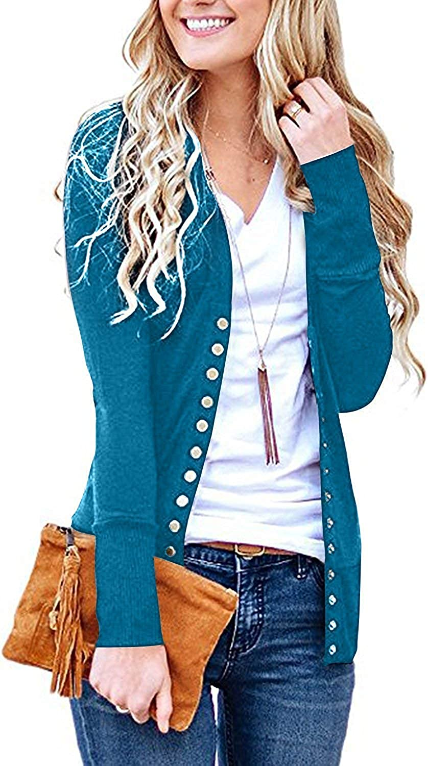 Chuhee Womens S-3XL Long Sleeve Button Knitwear Casual Soft Knit Cardigans