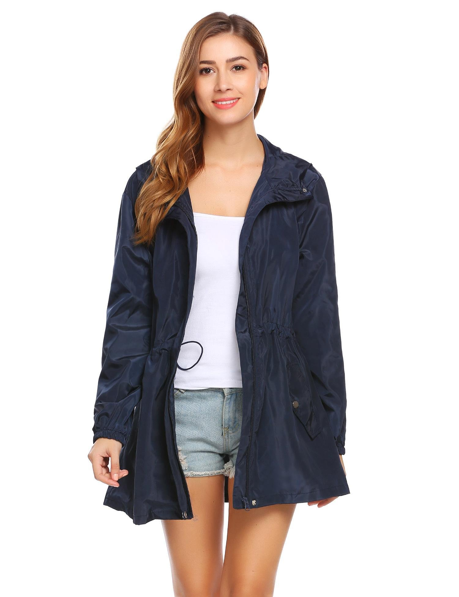 Opino Ladies Casual Basic Solid Autumn Jacket With Side Pockets Tops Navy Blue XXL