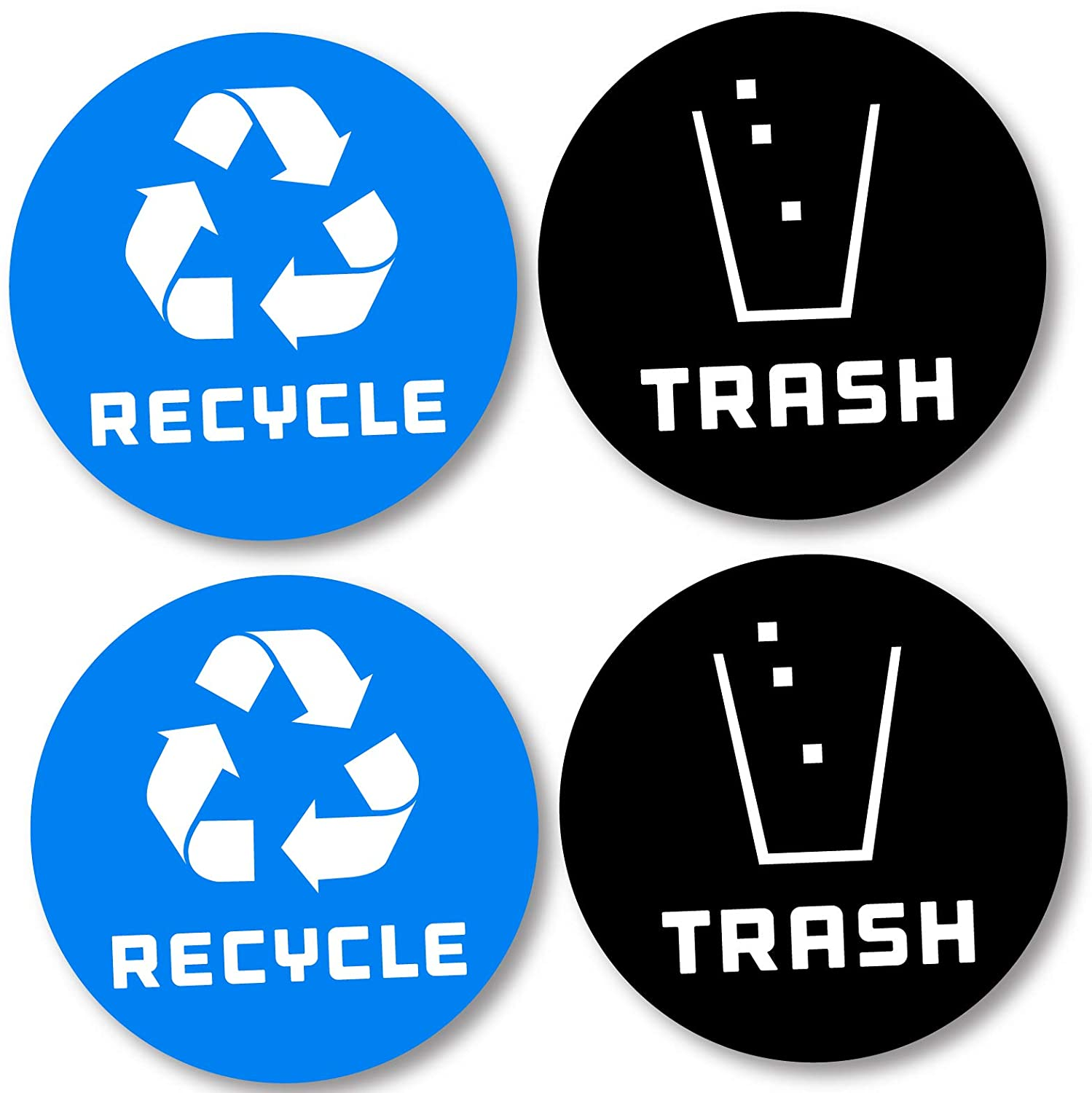 Recycle and trash bin logo stickers 4 pack blue 4in x 4in 7mil laminated organize trash for metal or plastic garbage cans containers and bins