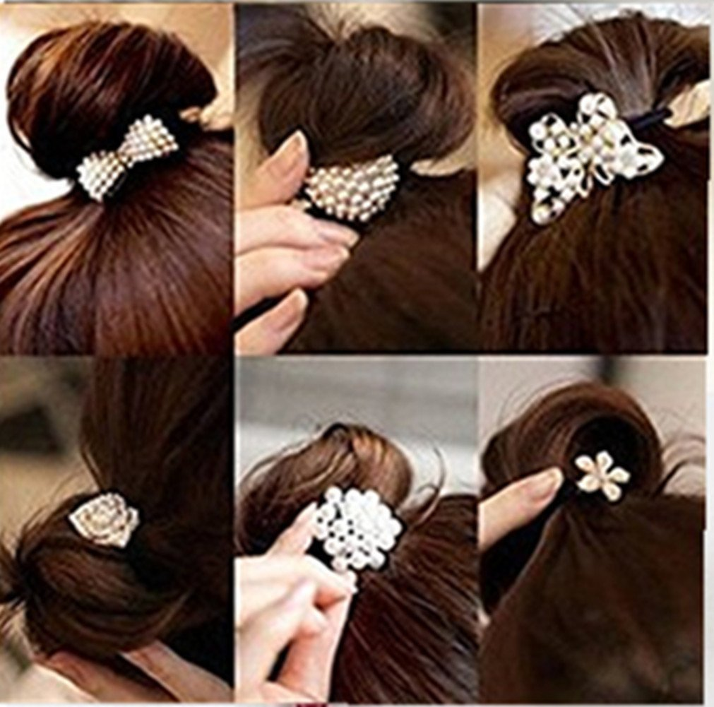 Cuhair(tm) Women Girl baby girl 6pcs elastic ponytail holders hair tie rope Rubber bands accessories, Small Pearl Crystal Diamond Bow design cutrade