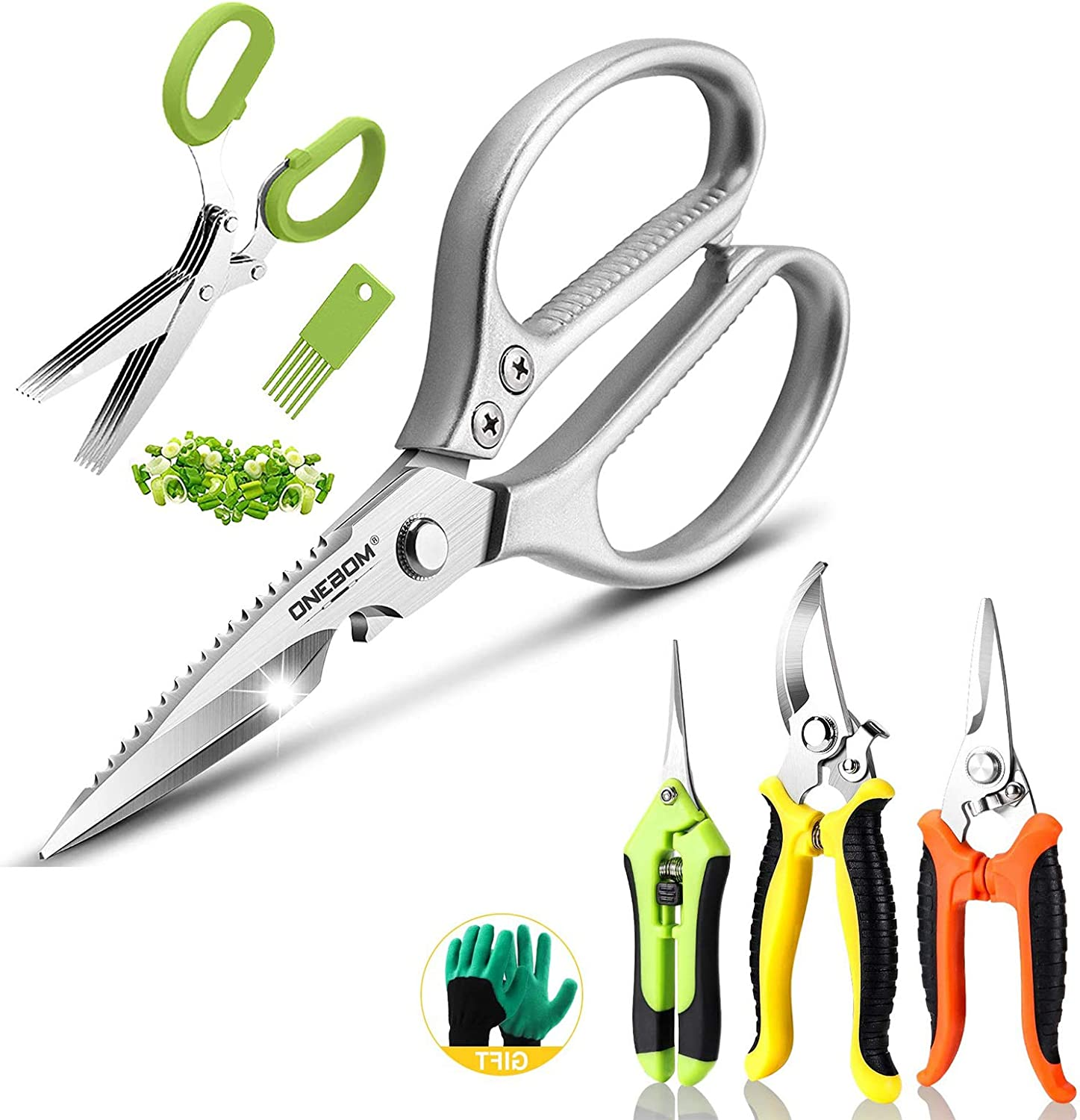 ONEBOM Kitchen Scissors with Herb Shears, Garden Pruning Shears Professional Heavy Duty