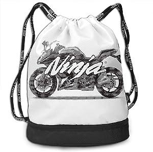 Kawasaki Ninja Hidden Multi-function Original Shoulder Bag Pumping Rope Backpack Pattern Printed Bundle Mouth Single Pocket