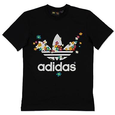 34e6ea712dbe5 adidas Originals Mens Pharrell Williams Flower T-Shirt in Black-White  adidas  Originals  Amazon.co.uk  Clothing