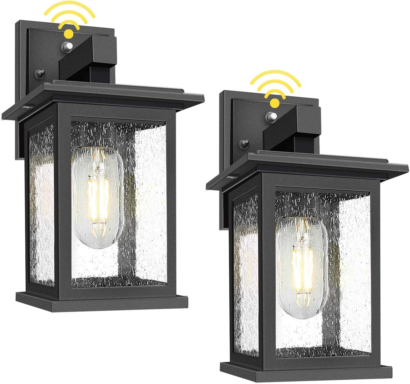 2 Pack Outdoor Wall Lanterns With Dusk To Dawn Sensor Photocell Exterior Porch Light Fixtures Waterproof Anti Rust Matte Black Outside Wall Sconces With Seeded Glass For Entryway Garage E26 Socket