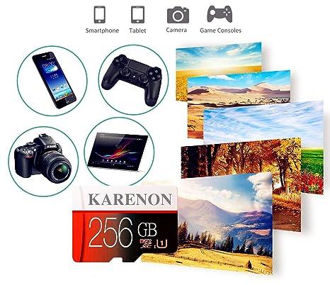 Karenon Tarjeta Micro SD 256 GB, microSDXC 256 GB Class 10 Tarjeta de Memoria + Adaptador (DF135-RH) (256gb)