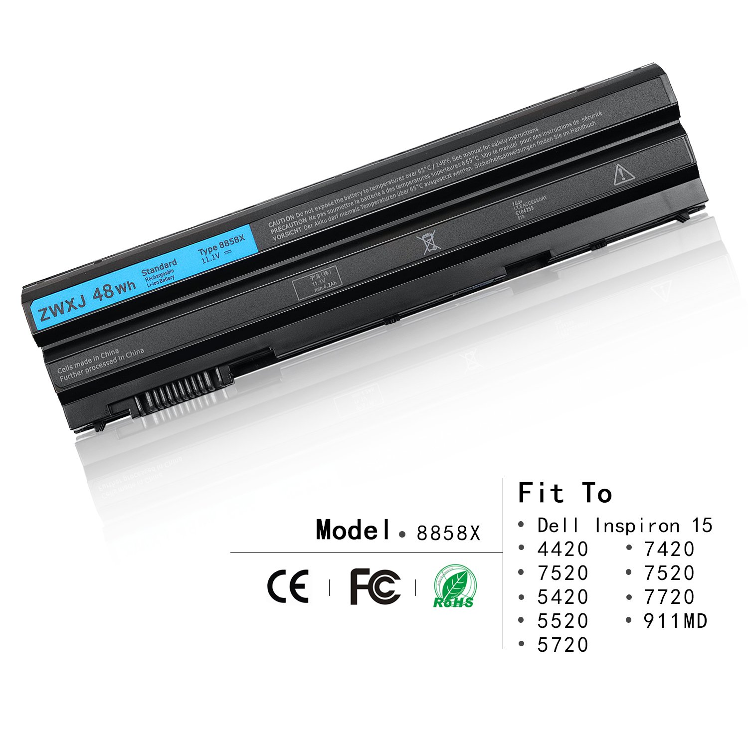 ZWXJ Laptop Battery 8858X (11.1V 48WH) for Dell Inspiron 15 4420 7520 5420 5520 5720 7420 7520 7720 8P3YX 911MD 451-12048 E5420 E5430 E5530 E6420 E6430 E6520 E6530 N4420 N4720 T54FJ M5Y0X N3X1D 911MD