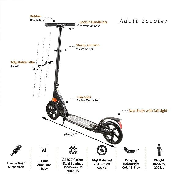 Amazon.com: Anfan Adult/Teen Kick Scooter, 2-Wheel 3 Levels ...