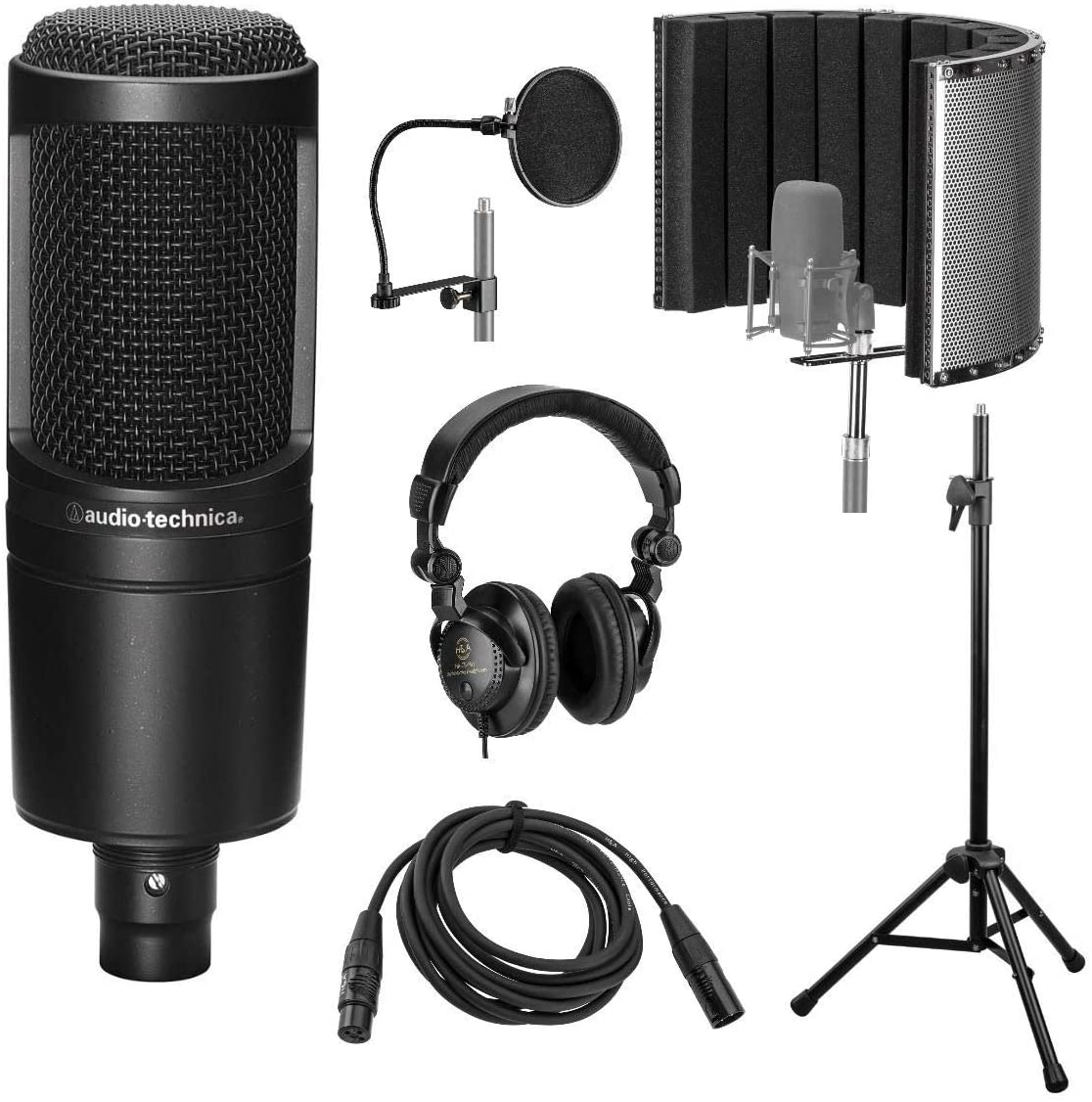 Audio-Technica AT2020 Cardioid Condenser Microphone with Vocal Recording Setup Kit