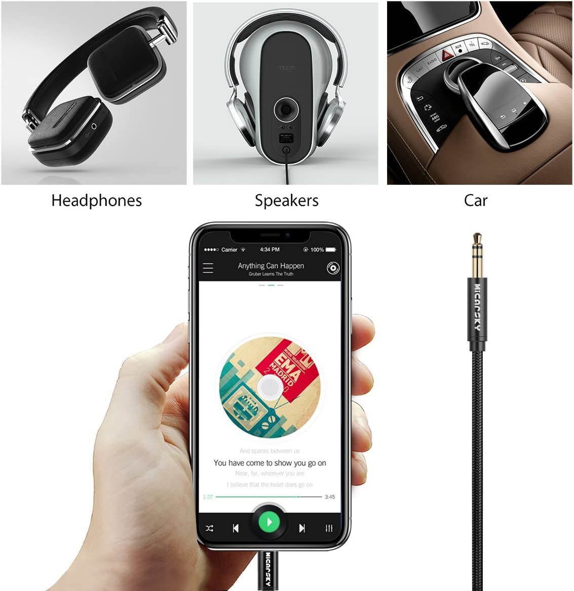 Micarsky AUX Cord Compatible for iPhone XS//XR//X//8//8Plus//7//7Plus Black 3.5mm AUX Male Audio Adapter for Car Stereo or Headphone Support iOS 12.1 and Later