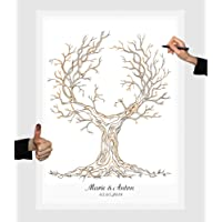 Wedding tree 22 Zeichnung Baum Leinwand 30x40cm Fingerabdruckbaum Partyspiel Ehebaum Stempelbaum Hochzeit (30 x 40)