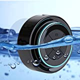 Duschlautsprecher - Wasserdichter Bluetooth 3.0 Lautsprecher mit FM Radio, 6hrs Spielzeit, Dedicated Saugnapf, Eingebauter Mic, Freisprecheinrichtung (Schwarz)