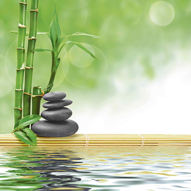Artland Qualitätsbilder I Glasbilder Deko Glas Bilder 50 x 50 cm Wellness Zen Stein Foto Grün A6NK Spa Konzept Zen Basaltsteine