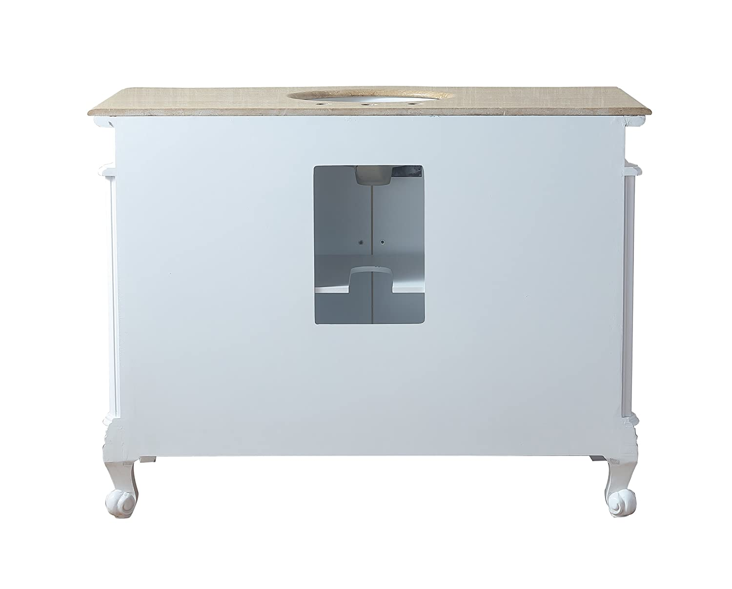 Stufurhome GM-3323W TR 48 Inches Saturn Single Sink Vanity with Travertine Marble Top White