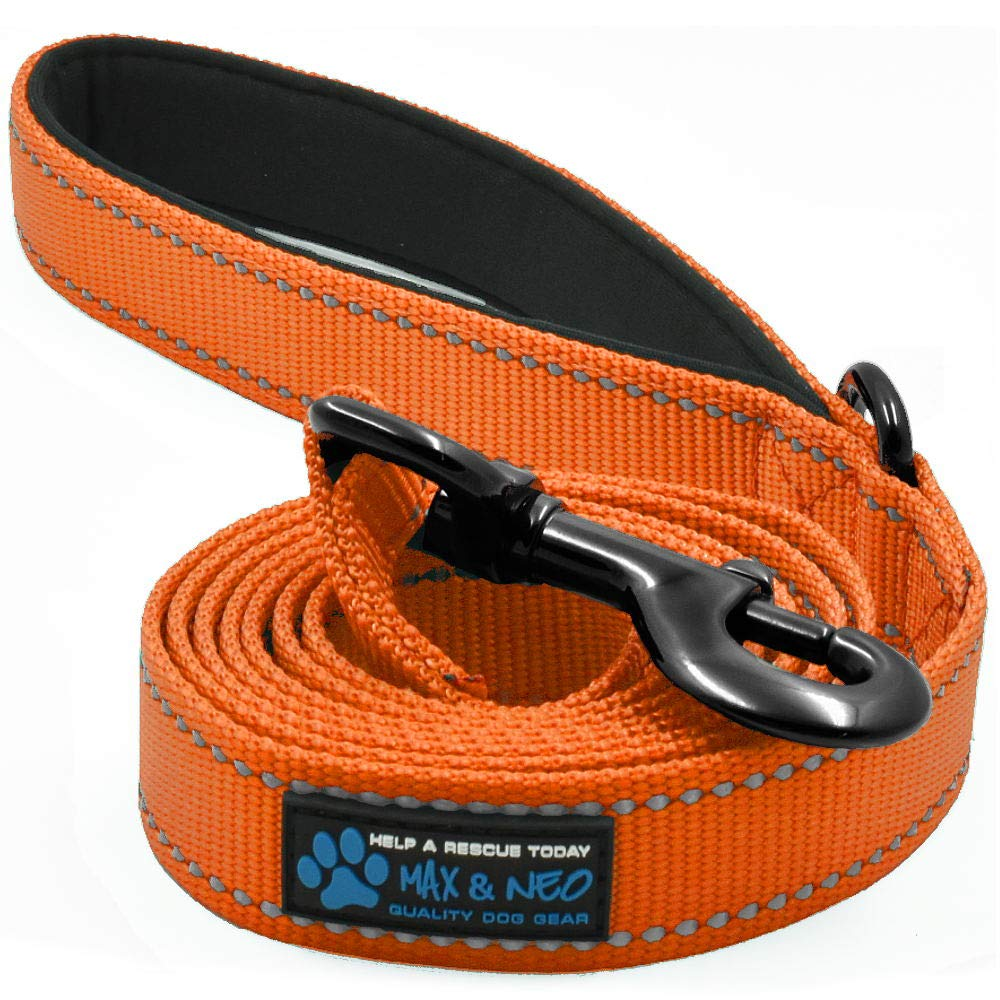 orange 4 FT x 1\ orange 4 FT x 1\ Max and Neo Reflective Nylon Dog Leash We Donate a Leash to a Dog Rescue for Every Leash Sold (orange, 4x1)