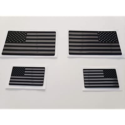 EyeCatcher USA Flag Emblem Decal Black - 4 Pack: Automotive