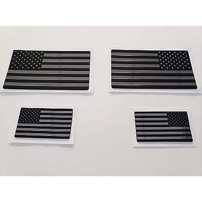 EyeCatcher USA Flag Emblem Decal Black - 4 Pack: Automotive