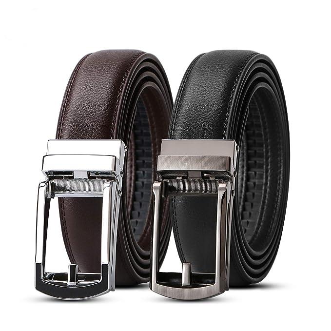Amazon.com: WERFORU - Cinturón de vestir de piel con ...