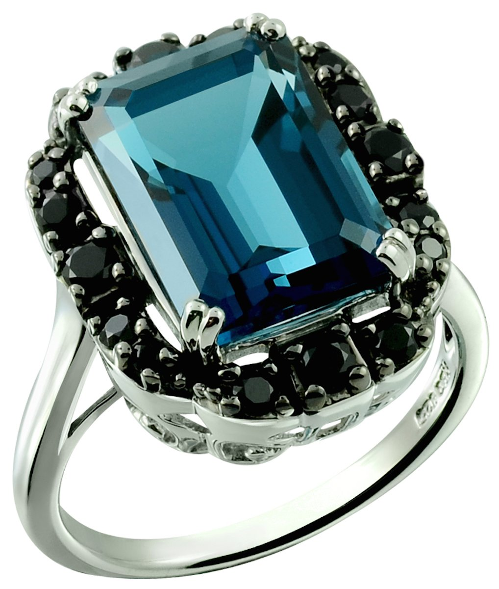Sterling Silver 925 STATEMENT Ring GENUINE LONDON BLUE TOPAZ and BLACK SPINEL 10.60 Cts with RHODIUM-PLATED Finish (8) by RB Gems
