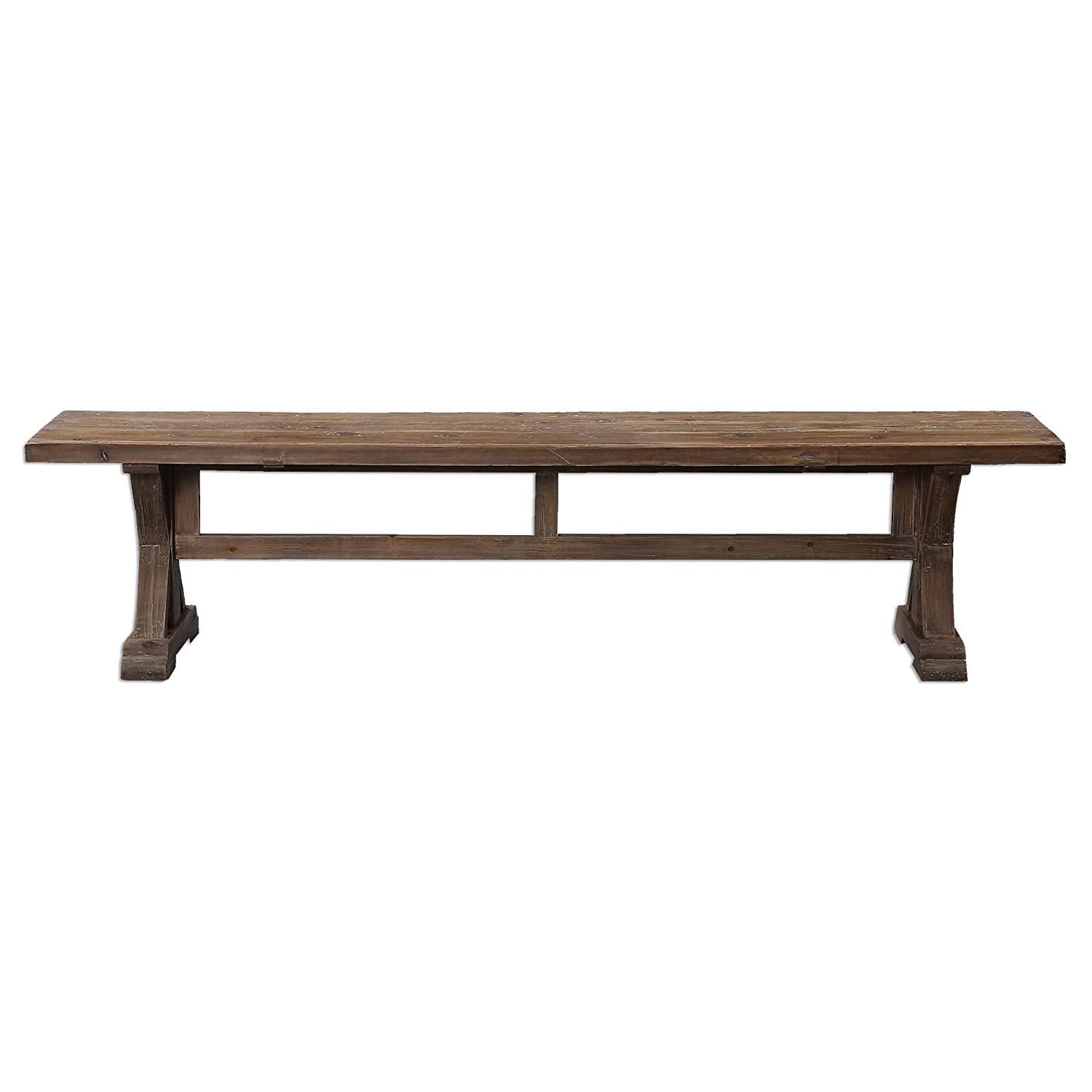 Amazon.com   Rustic Pine Farmhouse Solid Wood Trestle Bench | Dining Table  Seat Cottage Antique   Table Benches