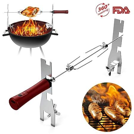 Mr.Twinklelight Drehspieß mit Batteriebetrieb zum Grillen, Edelstahl BBQ Rotisserie Set, Barbecue Grillspieß mit Motor für Ih