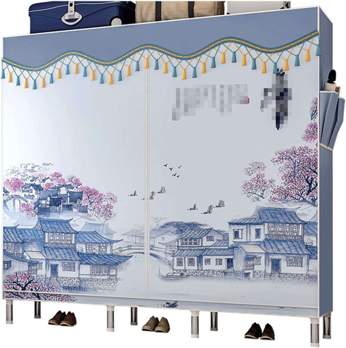 N/Z Home Equipment Canvas Wardrobe Wardrobe Armoire Closet Clothes Storage Rack 7 Shelves 4 Side Pockets 3 Hanging Rail Quick and Easy to Assemble (Color : D2 Size : 168x46x173cm)