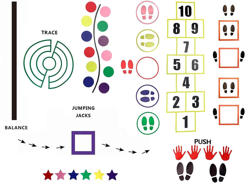 guarder/ías rojo, amarillo, azul, verde, rosa, naranja, profundidad, lila, caf/é, gris Toyvian escaleras 18 pares de pegatinas autoadhesivas para el suelo para habitaci/ón de los ni/ños decoraci/ón