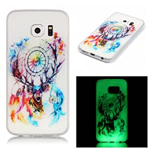 Pour Samsung Galaxy S6 Edge Coque,Coffeetreehouse [Noctilucent] Coque Etui Silicone Transparente Gel TPU Bumper Anti Poussiere Resistance Anti-rayures Case Cover Couverture Pour Samsung Galaxy S6 Edge - cerfs Campanula