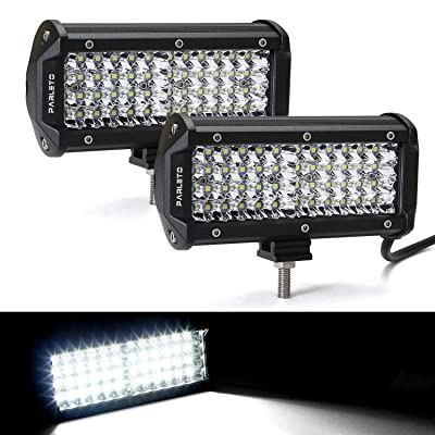 Parleto 7 Inch LED Light Bar 144W Submersible Quad Row Spot Beam Off Road Fog Driving Work Lights for Truck Trailer Pickup Boat SUV RV, Pack of 2: Automotive