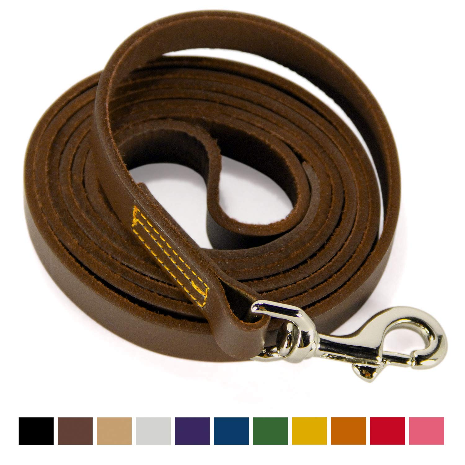 Logical Leather 6 Foot Dog Leash - Best for Training - Best Water Resistant Heavy Full Grain Leather Lead - Brown by Logical Leather