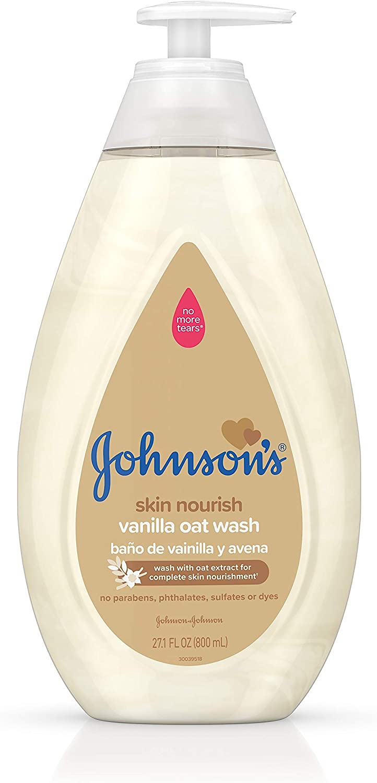 Johnson's Tear Free Skin Nourishing Baby Wash with Vanilla & Oat Extract, 27.1 fl. oz