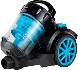 BLACK+DECKER VM2080 2000-Watts Cyclonic Canister Vacuum Cleaner, 220V (Not for USA - European Cord), Medium, Blue and Black