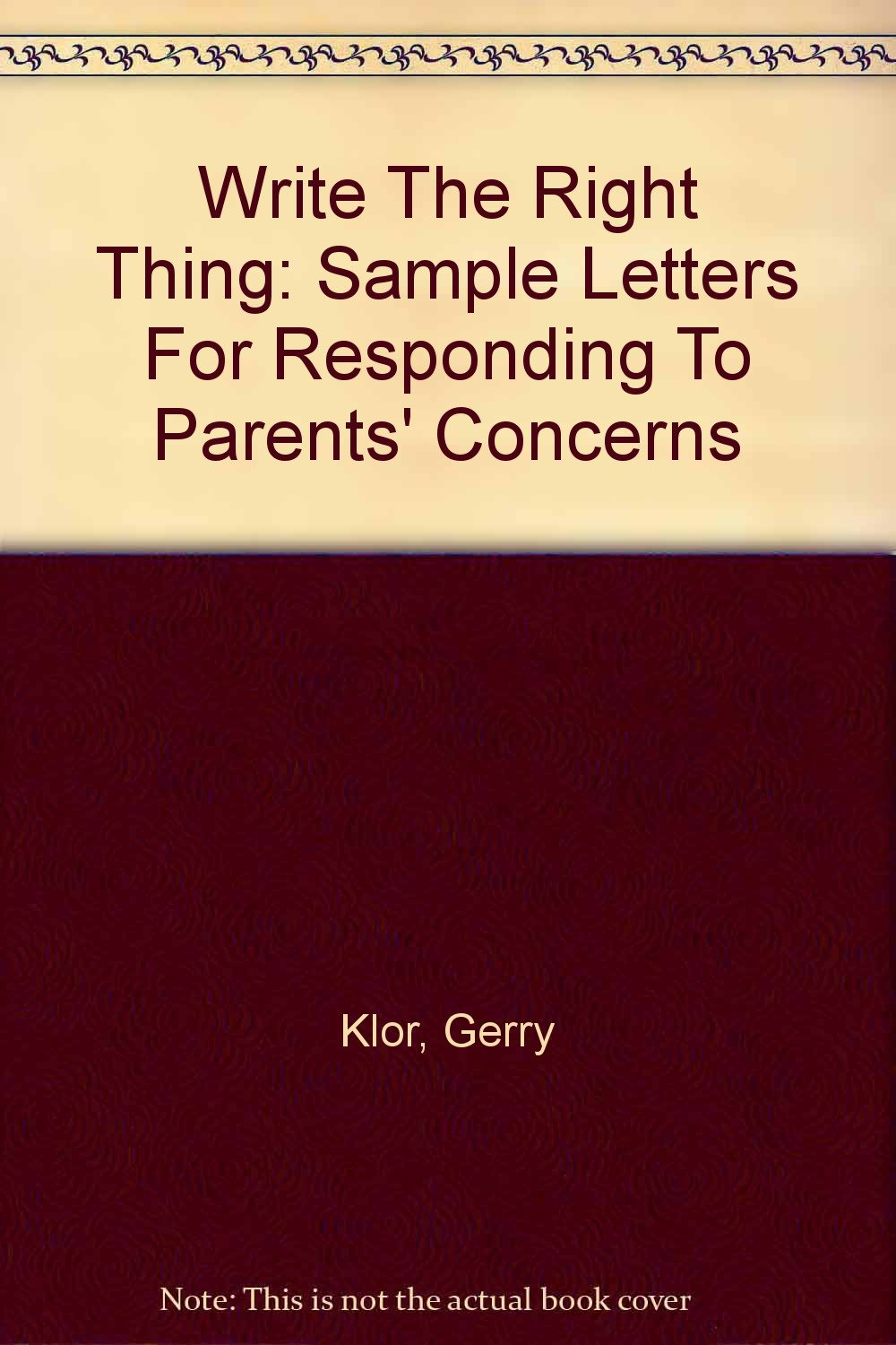 Write The Right Thing: Sample Letters For Responding To