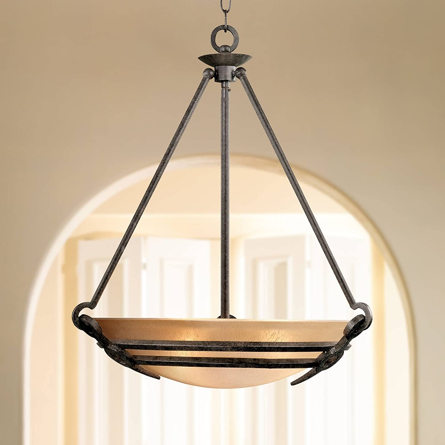 California Old Bronze Bowl Pendant Chandelier 22 1 2 Wide Industrial Mission India Scavo Glass For Dining Room House Foyer Entryway Kitchen Bedroom Living Room High Ceilings Franklin Iron Works Lighting