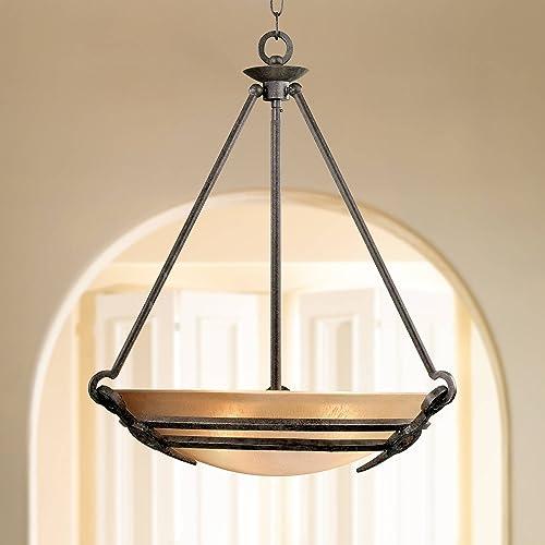 Saint Mossi Modern K9 Crystal Raindrop Chandelier Lighting Flush Mount LED Ceiling Light Fixture Pendant Lamp for Dining Room Bathroom Bedroom Livingroom 5 E12 LED Bulbs Required Height 24 x Width 23