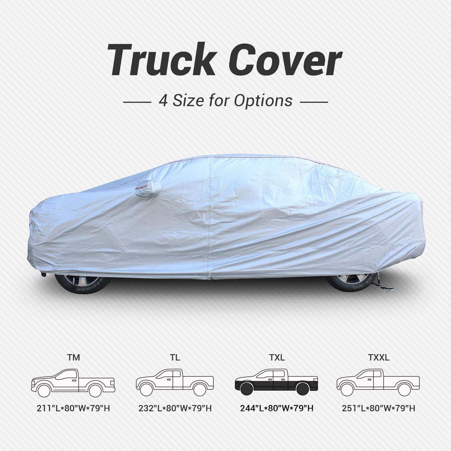 Tecoom Hard Shell Truck Cover Oxford Material Waterproof UV-Proof Windproof Zipper Design with Straps and Buckles Antenna Patch for All Weather Outdoor Fit Full Size Truck Length Up to 233 Inch