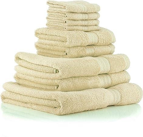 restmor Knightsbridge Juego de 9 Toallas 100% algodón Egipcio Peinado 500g/m2 Marfil: Amazon.es: Hogar
