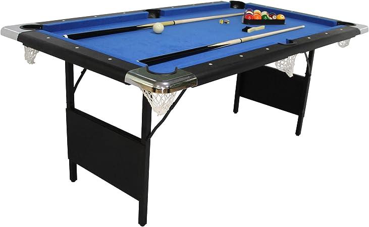 PLAY4FUN Billar Plegable, Mesa de Billar con Accesorios, 193 x 109 x 81 cm - Negro con Paño Azul: Amazon.es: Juguetes y juegos
