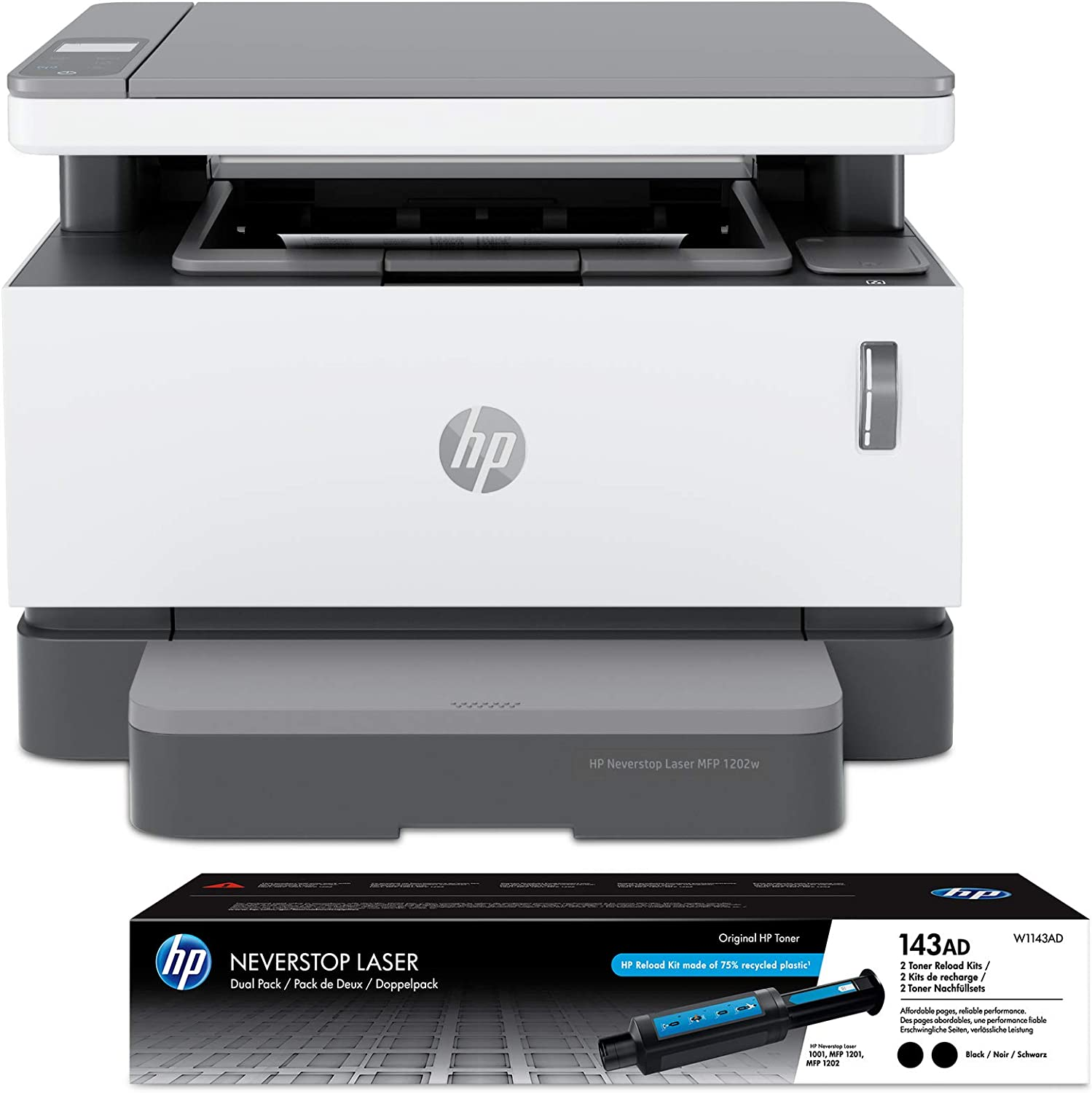 HP Neverstop All-in-One Laser Printer 1202w | Wireless Laser with Cartridge-Free Monochrome-Toner-Tank (5HG92A) with-Toner Reload-Kit 2-Pack