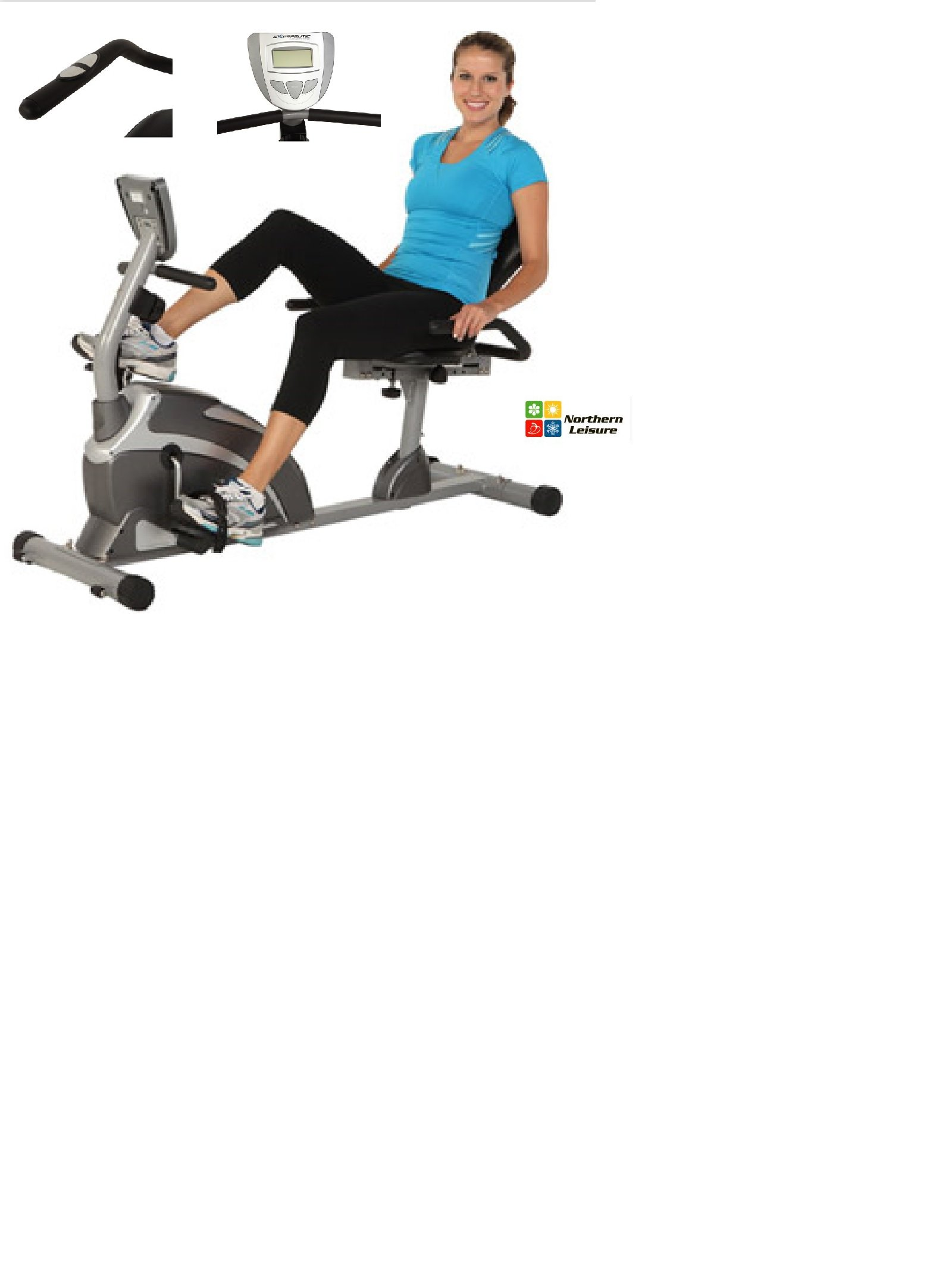 Exerpeutic 1000 High Capacity Magnetic Recumbent Bike W/ Pulse Wider Seat Extended by Exerpeutic