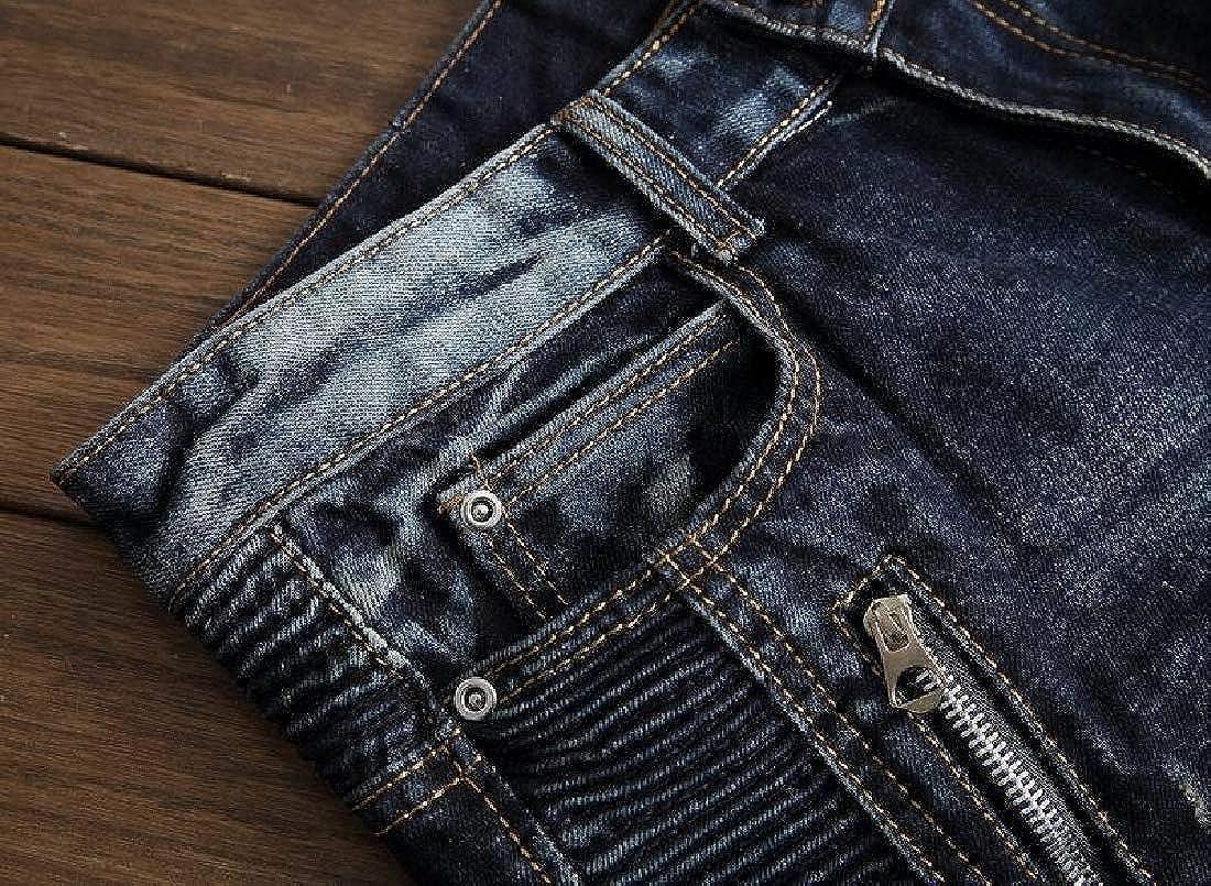 Mfasica Mens Slim Straight Fit Moto Biker Jeans Destroyed Jogger Pants