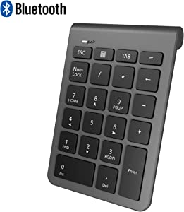 Bluetooth Number Pad, Alcey Wireless 22 Keys Multi-Function Numeric Keypad Keyboard Extensions for Laptop/Desktop/PCs/Notebook, Cool Gray