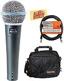 Shure Beta 58A Supercardioid Dynamic Vocal Microphone Bundle with Gear Bag, XLR Cable, and Austin Bazaar Polishing Cloth
