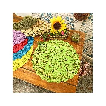 aspire 18 Pulgadas American Rural Campo Decorativo algodón Cubierta Toalla Encaje Tabla Doilies - Juego de manteles Individuales, algodón, Verde Claro, ...