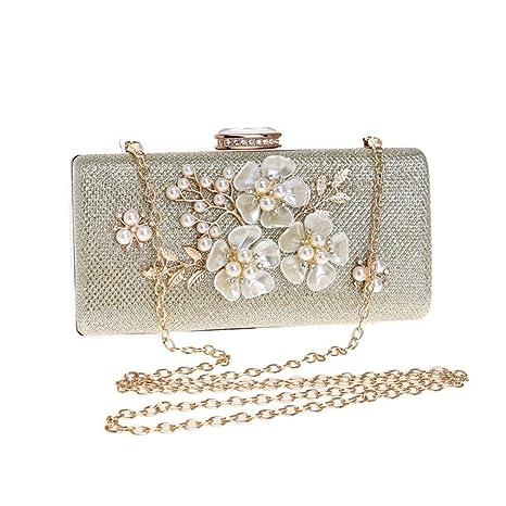 Amazon.com: Women Clutches Bag Flower Satin Evening Bags ...