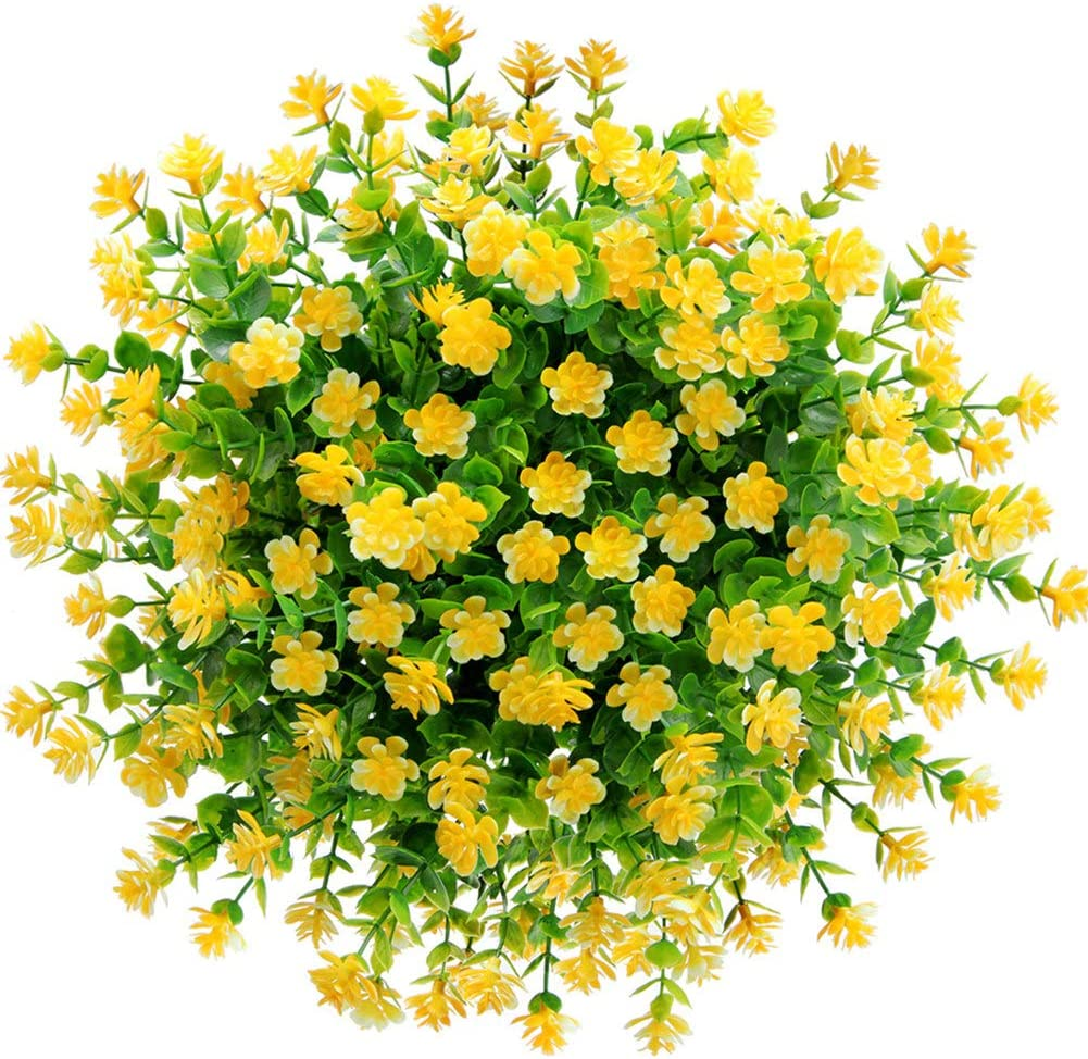 Artificial Flowers, Fake Flowers Artificial Greenery Plants Eucalyptus Outdoor Bridal Wedding Bouquet for Home Garden Party Wedding Decoration 5 Bunch (Yellow)