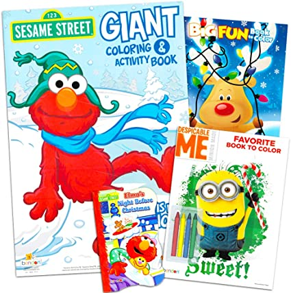 Stickers and Crayons Sesame Street Holiday Coloring Book Super Set for Kids Toddlers Stocking Stuffer Set 3 Festive Activity Books