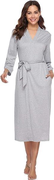 iClosam Batas Mujer Algodón Largo,Kimono con Cinturón Primavera,Ropa de Dormir Cuello en V Suave y Comodo S-XXL: Amazon.es: Hogar