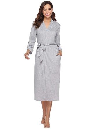 9013ef9b95 iClosam Womens Dressing Gown Cotton Kimono Robe Knit Ladies V-Neck Bathrobe  Nightwear for All