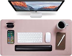 """Yikda Extended Leather Gaming Mouse Pad/Mat, Large Office Writing Desk Computer Leather Mat Mousepad,Waterproof,Ultra Thin 1.2mm - 31.5""""x15.7"""" (Pink/Silver)"""